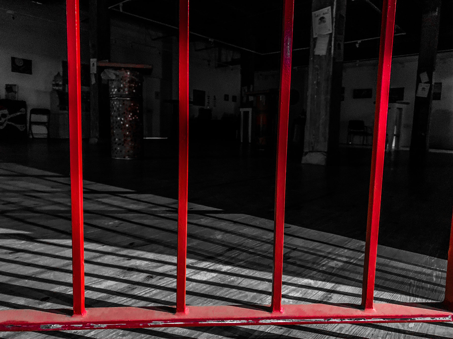 Red gate to gallery